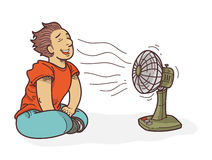 Cartoon relaxing in front of fan Royalty Free Stock Photography