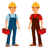 Cartoon repairman or construction worker. In safety hat Royalty Free Stock Photos