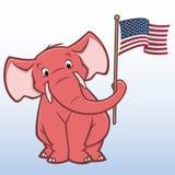 Cartoon Republican Elephant. Vector illustration of a republican elephant holding american flag Stock Image