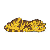 cartoon resting tiger Royalty Free Stock Images