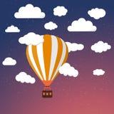 Cartoon Retro Air Balloon On Night Sky Background Stock Photo