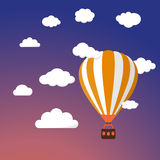 Cartoon Retro Air Balloon On Night Sky Background Stock Photo