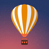 Cartoon Retro Air Balloon On Night Sky Background Royalty Free Stock Photo
