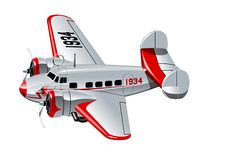 Cartoon Retro Airplane Stock Image
