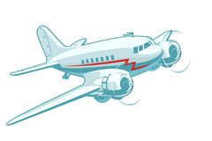 Cartoon Retro Airplane Stock Photos