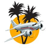 Cartoon Retro Airplane Royalty Free Stock Photography