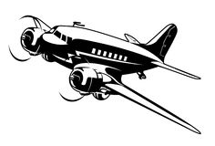 Cartoon Retro Airplane Royalty Free Stock Photo