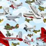 Cartoon retro airplanes 30s seamless pattern Royalty Free Stock Photos