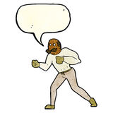 cartoon retro boxer man with speech bubble Royalty Free Stock Images