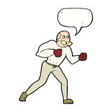 cartoon retro boxer man with speech bubble Stock Photo