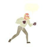 cartoon retro boxer man with speech bubble Stock Images