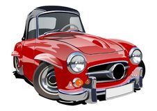 Cartoon retro car. Available eps-10 vector format separated by groups with transparency effects for one-click repaint Stock Photo