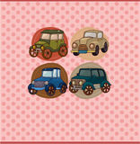Cartoon retro car card Stock Photography