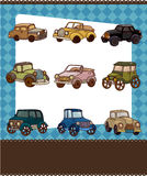Cartoon retro car card Stock Photos
