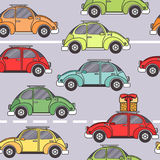 Cartoon retro car seamless pattern. Vector illustration. Royalty Free Stock Photo