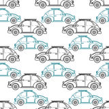 Cartoon retro car seamless pattern. Vector illustration. Royalty Free Stock Photos