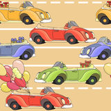 Cartoon retro car seamless pattern. Vector illustration. Royalty Free Stock Images
