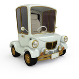 Cartoon Retro Car. Cartoon car white gold plated Stock Illustration