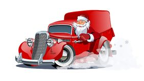 Cartoon retro Christmas delivery truck Stock Photo