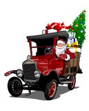 Cartoon retro Christmas truck. Cartoon retro Christmas delivery truck. Available eps-10 vector format separated by groups with transparency effects for one-click Stock Photography