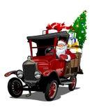 Cartoon retro Christmas truck Stock Photography