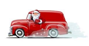 Cartoon retro Christmas van Royalty Free Stock Photo