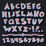 Cartoon Retro 3D Font with Strips on Black. Background. Clipping paths included in additional jpg format Stock Images