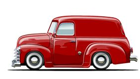 Cartoon retro delivery van Royalty Free Stock Image