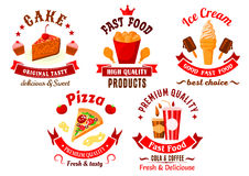 Cartoon retro fast food and pastry symbols Stock Photography