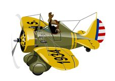 Cartoon Retro Fighter Plane Stock Photo
