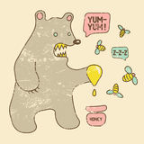 Cartoon retro funny bear with honey and bees. Vector grunge illustration. Royalty Free Stock Photos