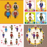Cartoon retro gentleman card collection Stock Images
