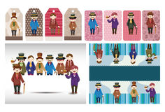 Cartoon retro gentleman card collection Royalty Free Stock Photos