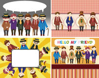 Cartoon retro gentleman card collection Stock Image