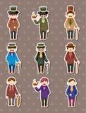 Cartoon retro gentleman stickers. Cartoon vector illustration Royalty Free Stock Photo