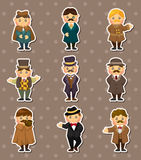 Cartoon retro gentleman stickers Royalty Free Stock Image
