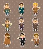 Cartoon retro gentleman stickers. Cartoon vector illustration Royalty Free Stock Image