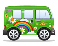 Cartoon Retro Hippie Van. Cartoon retro green hippie van with rainbow, clouds and flowers, isolated on white background. Eps file available