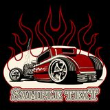 Cartoon retro hot rod. Isolated on black background Royalty Free Stock Photos