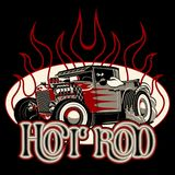 Cartoon retro hot rod with vintage lettering poster stock illustration