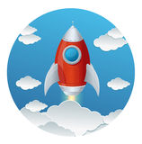 Cartoon retro iron rocket and clouds isolated Stock Photo