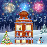 Cartoon retro merry christmas night illustration city houses facades Stock Photography