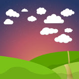 Cartoon Retro Night Sky With Field Clouds and Royalty Free Stock Photo