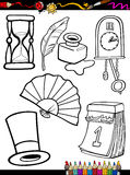 Cartoon retro objects coloring page Stock Photo