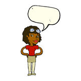 cartoon retro pilot woman with speech bubble Royalty Free Stock Photography