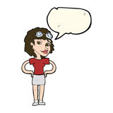 cartoon retro pilot woman with speech bubble Royalty Free Stock Images