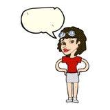 Cartoon retro pilot woman with speech bubble Stock Photos