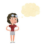 cartoon retro pilot woman with thought bubble Stock Images