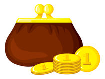 Cartoon retro purse and coins Royalty Free Stock Photography