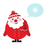 Cartoon retro Santa thinking about Winter. Cute vector cartoon Santa thinking. Illustration in retro style Stock Photography